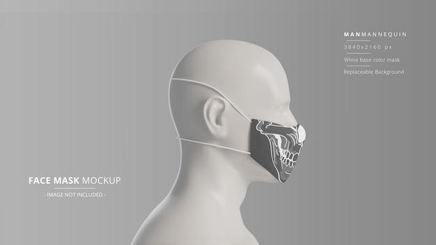 Mockup di maschera facciale in tessuto realistico manichino uomo vista lato destro