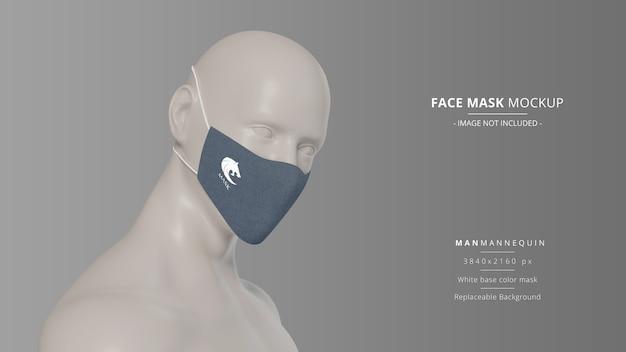Mockup di maschera facciale in tessuto realistico