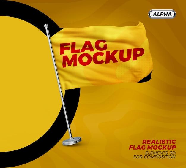 Rendering realistico del design del mockup della bandiera Psd Premium