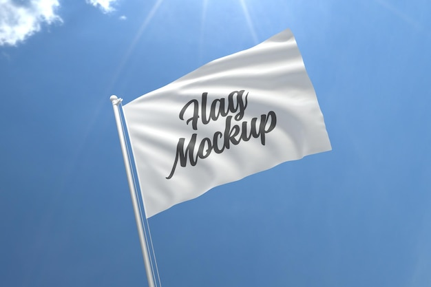 Realistico bandiera mockup con cielo blu