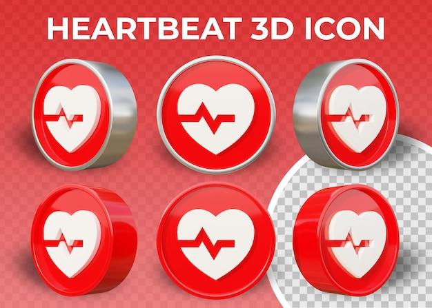Icona 3d piatta realistica battito cardiaco isolato