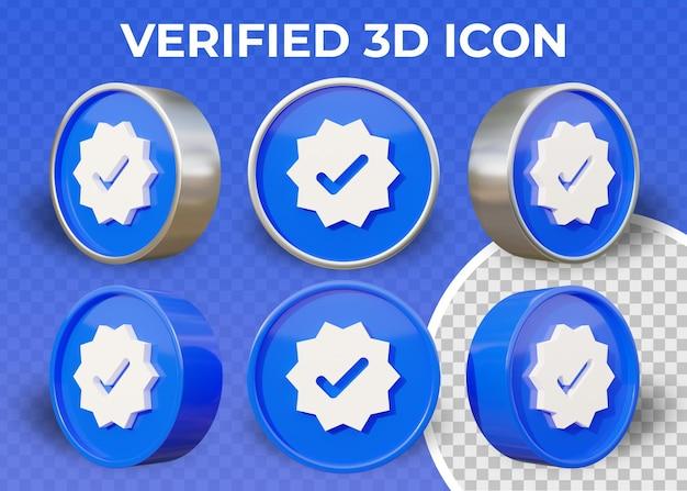 Icona verificata 3d piatto realistico