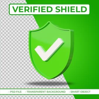 Icona di scudo verificato 3d piatto realistico isolato