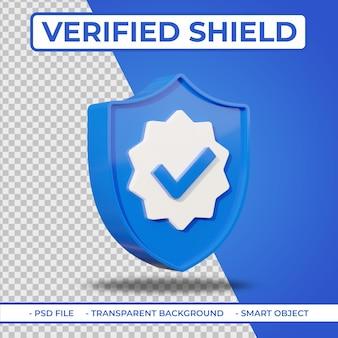 Icona scudo utente verificato 3d piatta realistica isolata