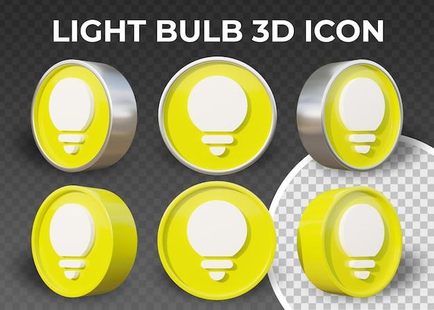 Icona 3d realistica della lampadina piatta