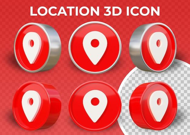 Icona 3d isolata posizione piana realistica