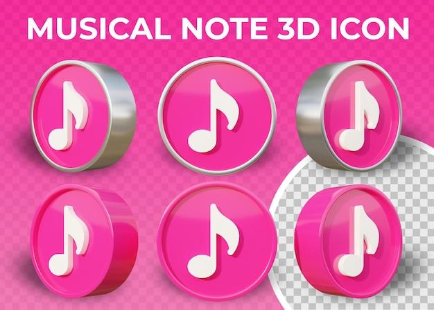 Icona 3d isolata nota musicale piana realistica Psd Premium