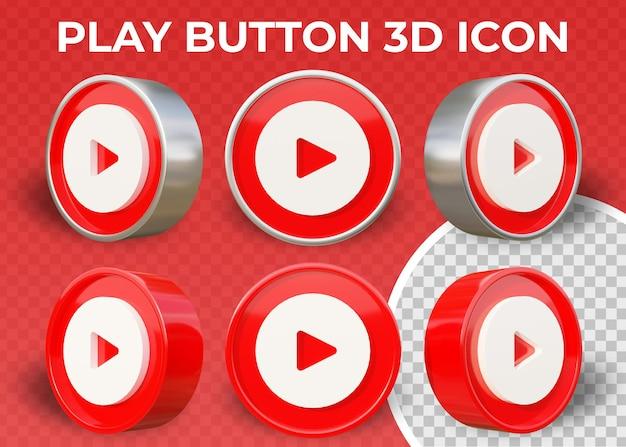 Icona 3d isolata pulsante di riproduzione piatto realistico