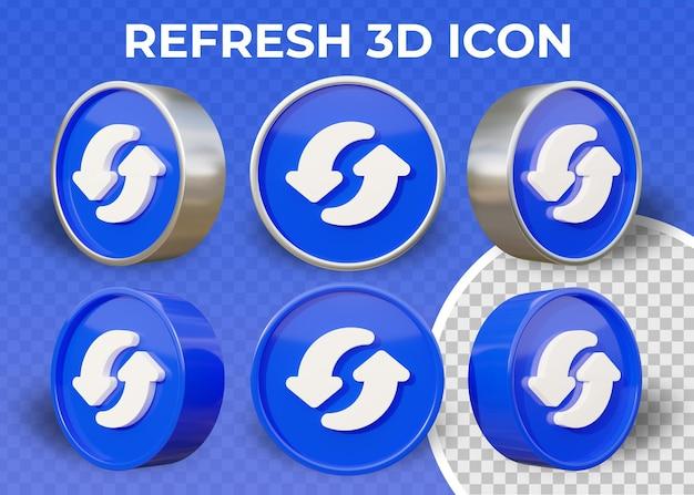 Icona 3d isolata di aggiornamento piatto realistico