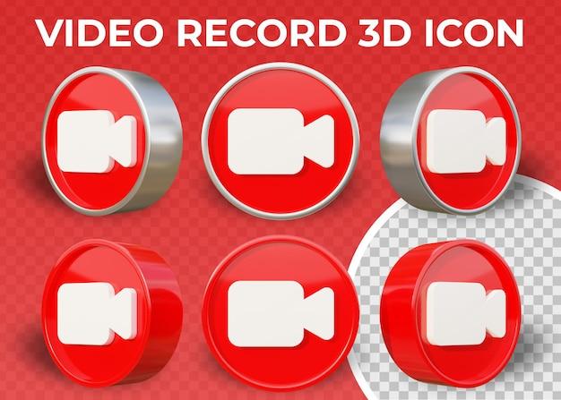 Icona 3d isolata di registrazione video piatta realistica