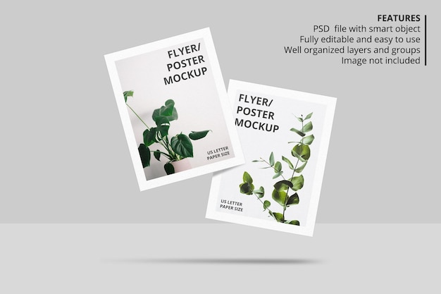 Realistico design di mockup brochure di carta o volantino galleggiante