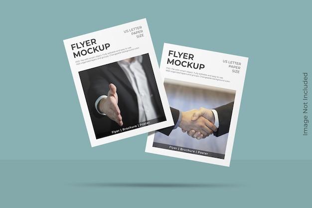 Mockup di flyer lettera fluttuante realistico