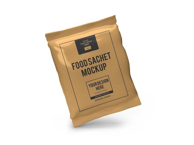 Modello realistico di mockup di imballaggio di bustine di cibo isolato