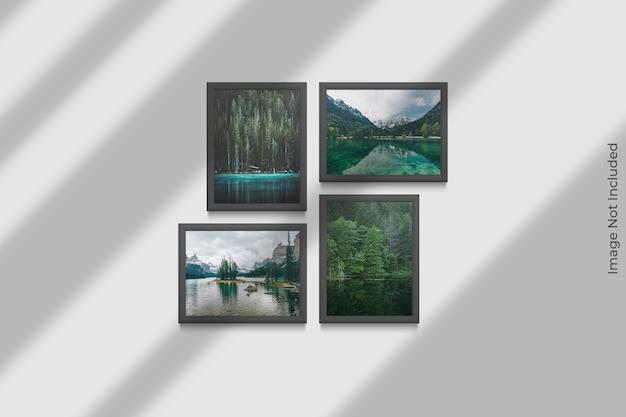 Mockup di cornici realistiche appeso al muro con sovrapposizione di ombre