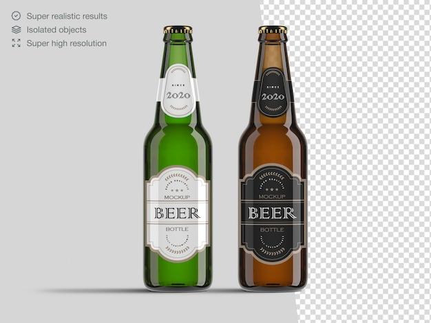 Modello realistico del modello della bottiglia di birra di vetro marrone e verde di vista frontale