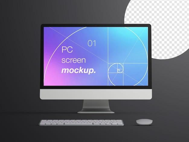 Mockup di vista frontale realistico isolato dello schermo del dispositivo computer desktop con tastiera e mouse