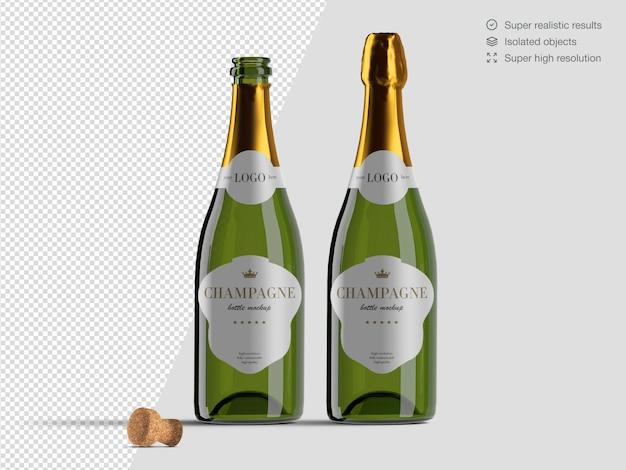 Modello di mockup di bottiglie di champagne aperto e chiuso vista frontale realistico con sughero