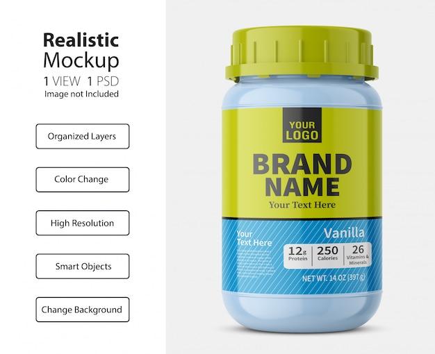 Vista frontale realistica del mockup della bottiglia della pillola della farmacia