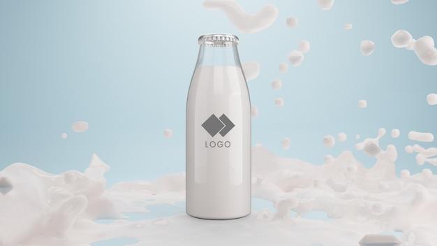 Realistica bottiglia di vetro di latte con schizzi di liquido