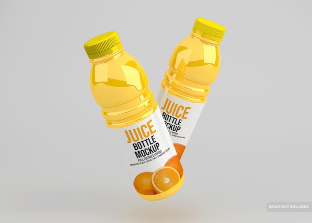 Mockup di confezionamento di bottiglie di succo di vetro realistico