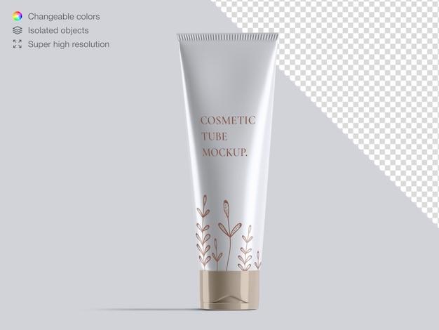 Mockup di confezionamento tubo crema cosmetica vista frontale lucida realistica