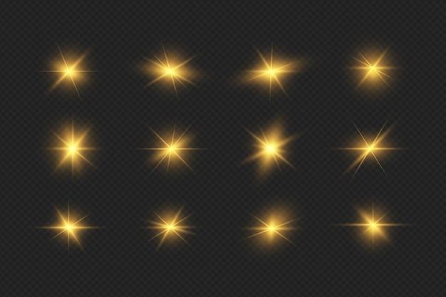 Collezione realistica di bagliori di lenti luminose