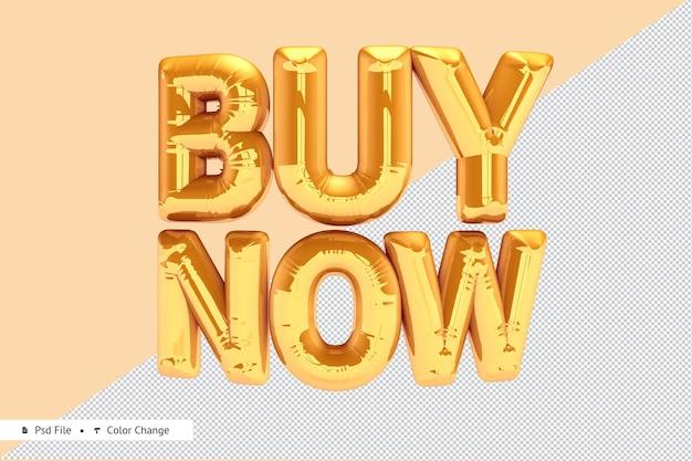 Rendering 3d realistico palloncino dorato acquista ora