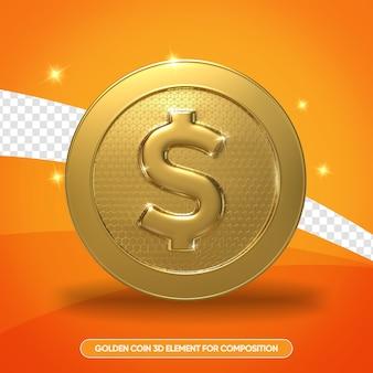 Monete d'oro realistiche in 3d rendono isolato