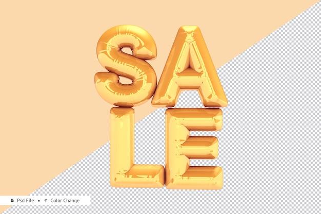 Rendering 3d realistico palloncino vendita d'oro