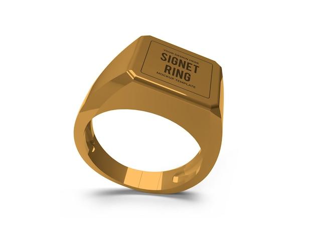Modello di mockup di anello con sigillo dorato realistico isolato