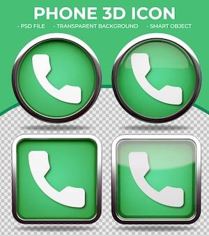 Pulsante realistico in vetro verde lucido rotondo e quadrato 3d phone icon