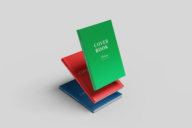 Rendering 3d realistico di mockup di libri con copertina rigida