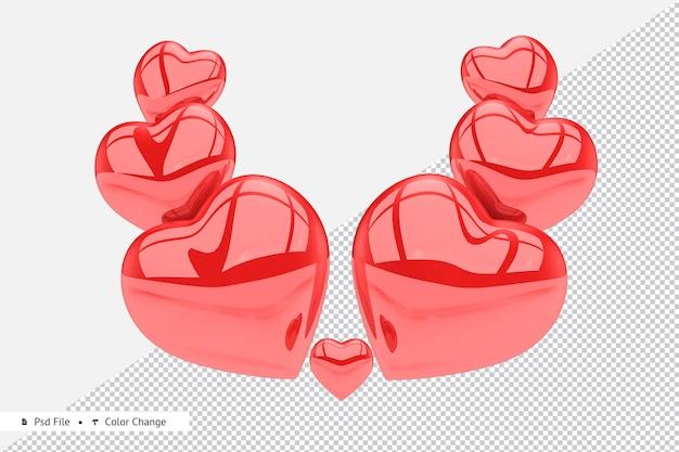 Rendering 3d di palloncini cuore realistico