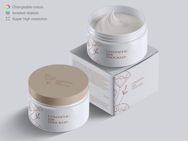 Vasetti di crema cosmetica plastica ad alto angolo realistico e modello di mockup scatola di crema