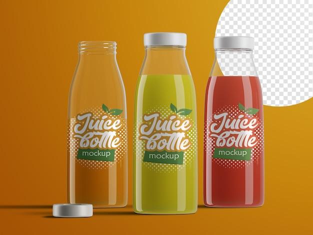 Mockup isolato realistico di bottiglie di succo di frutta in plastica confezioni con gusti diversi