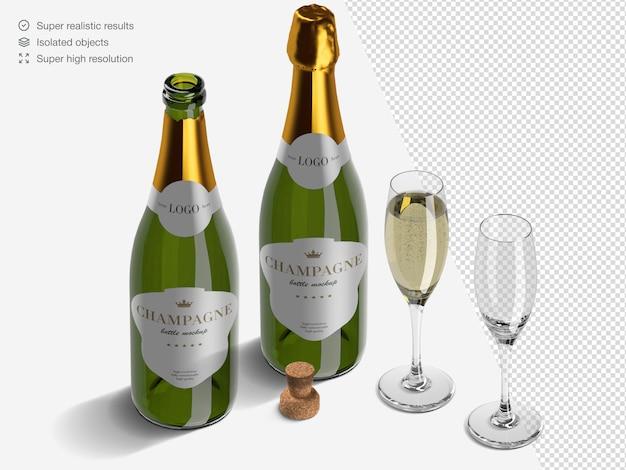 Realistico isometrico bottiglie di champagne mockup creatore di scena con bicchieri e sughero