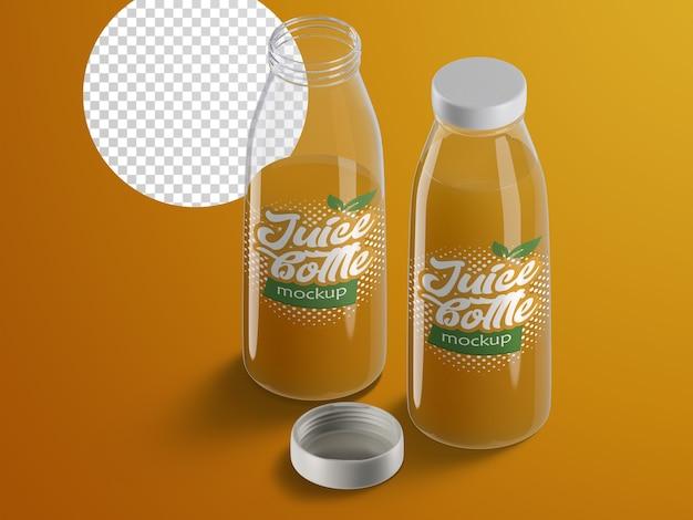 Mockup isolato isometrico realistico di imballaggi in plastica per bottiglie di succo di frutta