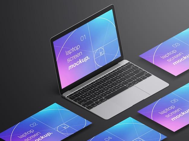 Mockup di schermi di laptop macbook isometrici realistici