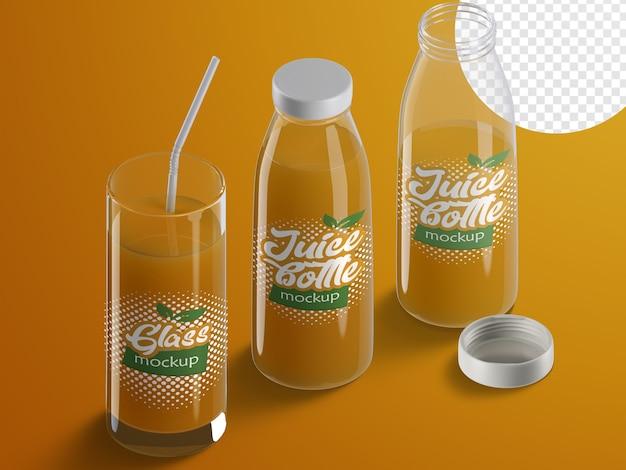 Mockup isometrico realistico e creatore di scene di imballaggi in plastica per bottiglie di succo di frutta