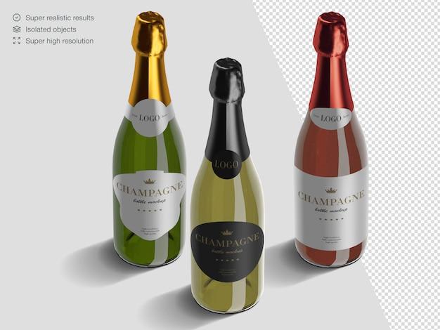 Realistica varietà isometrica di modello di mockup di bottiglie di champagne