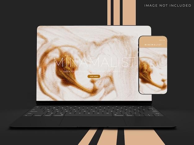 Scena realistica di mockup di laptop e telefono per il design dell'identità del marchio