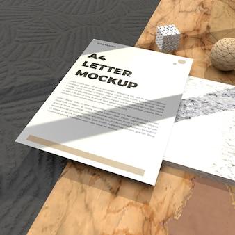 Volantino mockup lettera realistica per poster cv e mockup pubblicitario