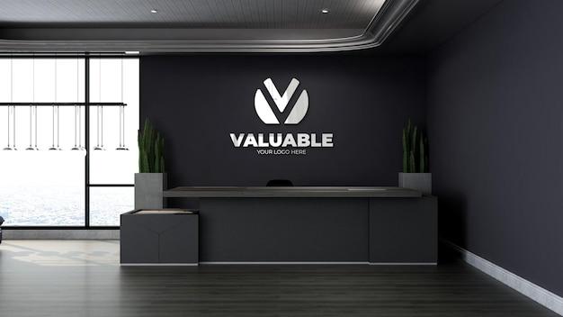 Mockup di logo realistico nella moderna receptionist dell'ufficio o nella stanza della reception