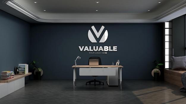 Mockup di logo realistico nella stanza del manager dell'ufficio