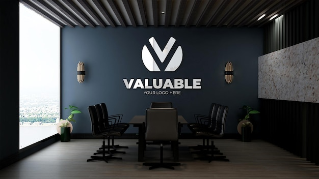 Mockup di logo realistico nella sala riunioni dell'ufficio con interni di design di lusso