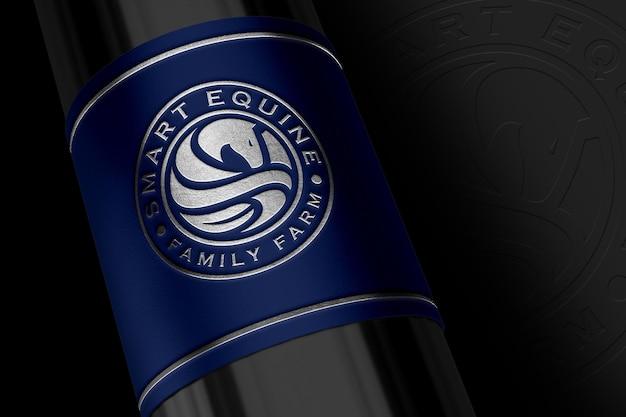 Mockup del logo realistico sull'etichetta della confezione