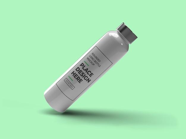 Mockup di bottiglia di plastica arrotondato lungo realistico