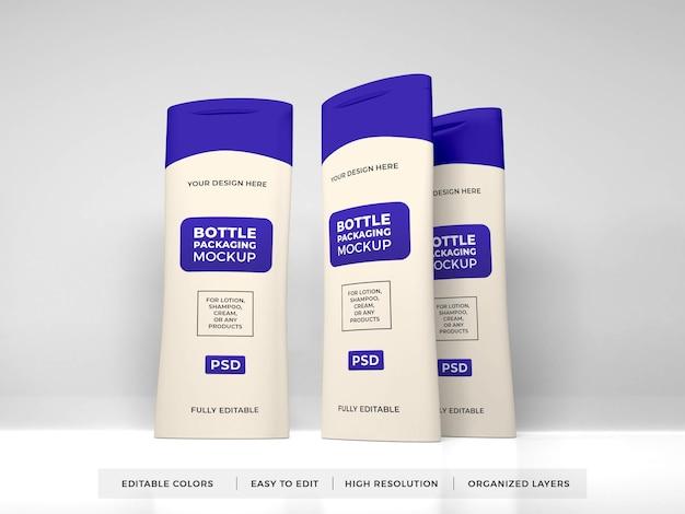 Crema per lozione realistica e bottiglia di shampoo mockup