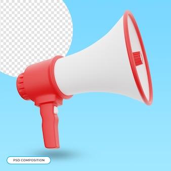 Altoparlante realistico 3d megafono isolato
