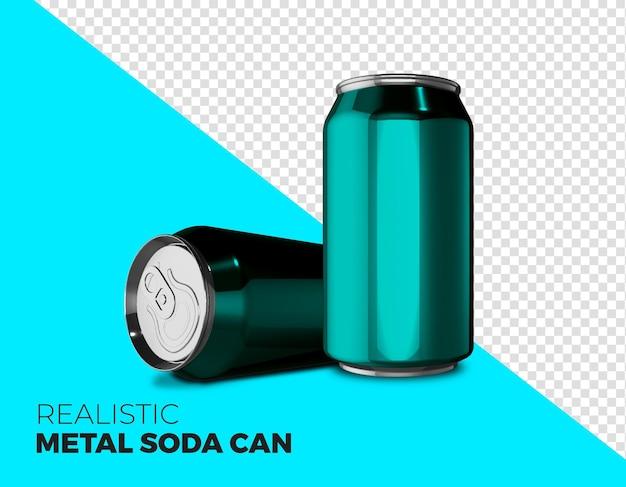 Rendering realistico della lattina di soda in metallo